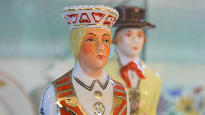 Porcelain figurines in the Riga Porcelain Museum, Latvia