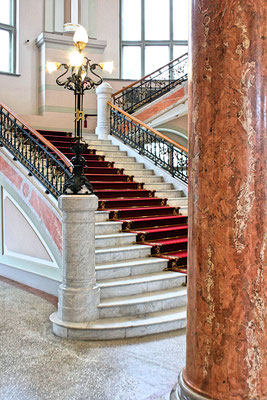 Beautiful stairs in the Latvian National Museum of Art in Riga, Latvia