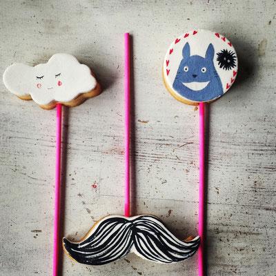 Kekse am Stiel, Totoro, Moustache, Wolke