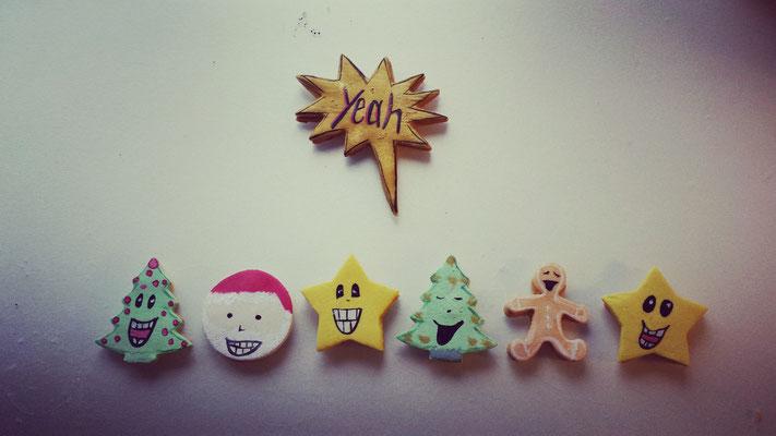 Weihnachtskekskollektion mit handbemaltem Marzipan