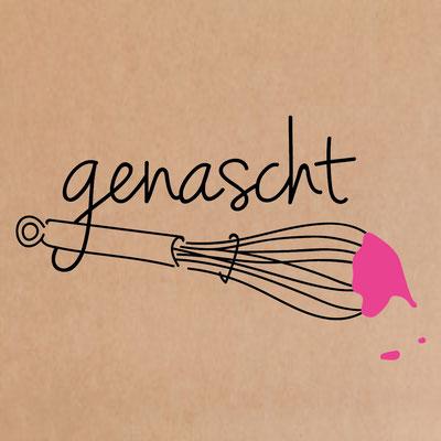 `genascht- Logo mit Schneebesen undtropfender Creme