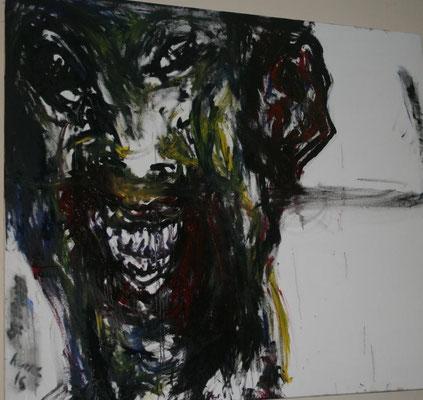 Neu mit Freude, Öl auf Leinwand, 150x135cm