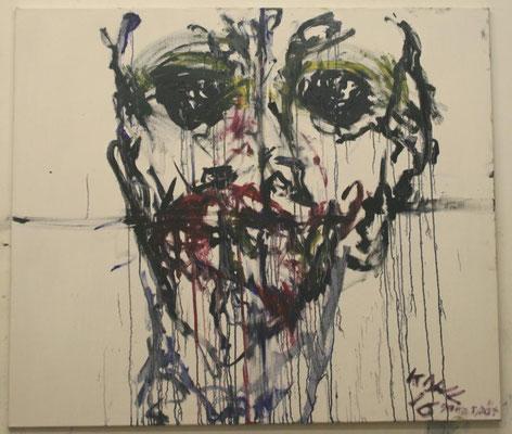 Neu mit Kindergesicht, Öl auf Leinwand, 150x135cm