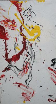 Lang beschwingt, Öl und Acryl auf Leinwand, 220x180cm
