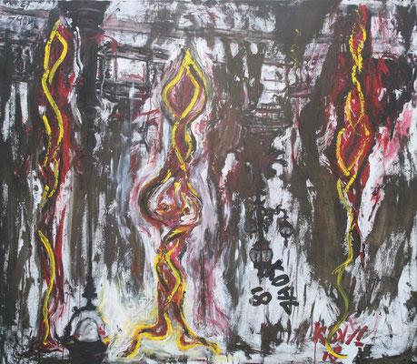 Drei lange Gestalten in Paris, Öl und Acryl auf Leinwand