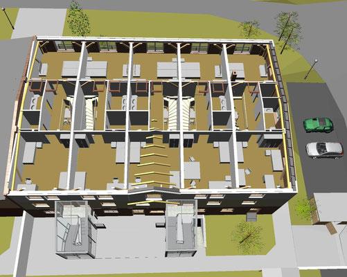 """Zentralperspektive Dachgeschoss mit """"darüberschwebenden"""" Dachfenstern"""