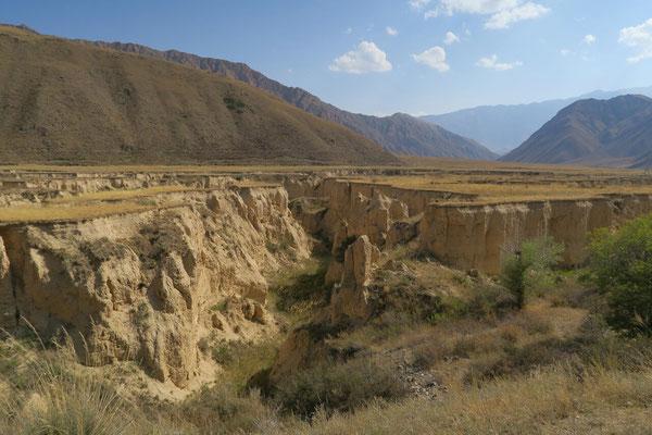 Canyon façonné par l'eau sur la route de Kazarman
