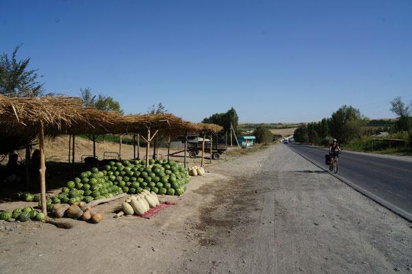 Les étals de pastèques le long de la route qui mène à Och
