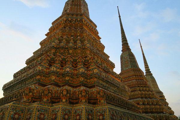 Les pagodes à la tombée de la nuit