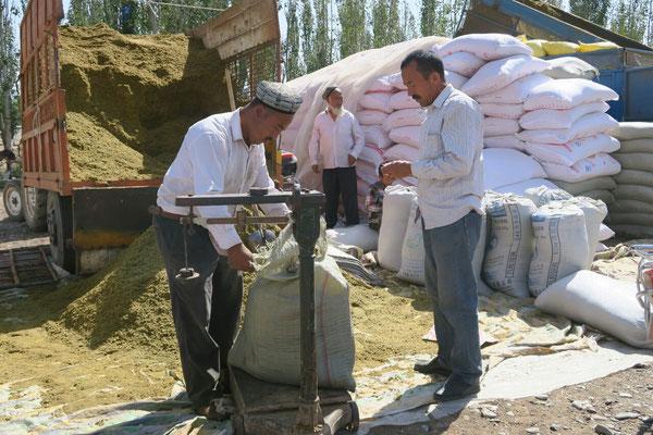 Vente de céréales, aux abords du marché