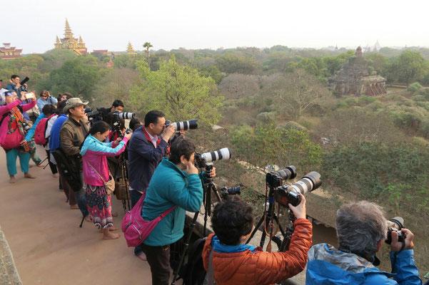 Lever de soleil sur Bagan, gare aux paparazzi... cherchez l'erreur!
