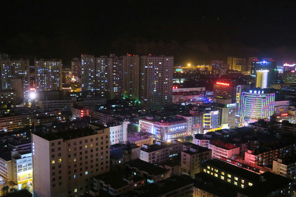 Xining de nuit depuis le 32ème étage