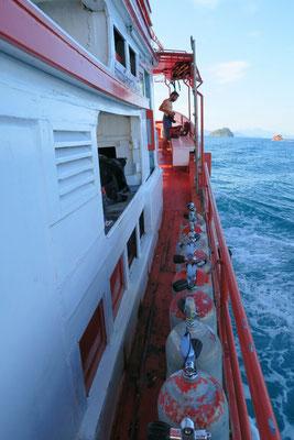 Sur le bateau au large de Ko chang
