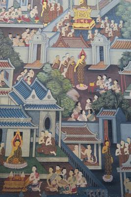 Les mur à l'intérieur des temples du Wat pho sont très décorés