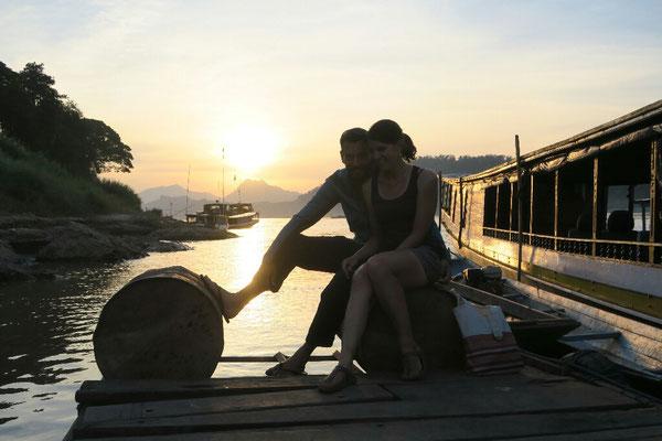 Coucher de soleil en amoureux sur le Mekong