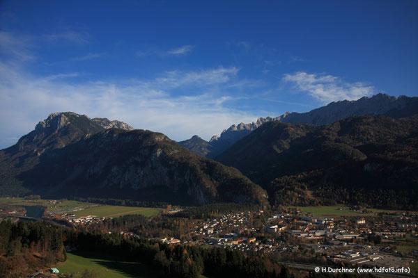 Kaisertal bei Kufstein mit Stripsenjoch zwischen dem Zahmen und dem Wilden Kaisergebirge