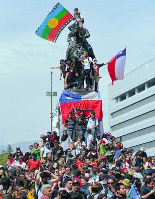 Demonstration im Herzen von Santiago