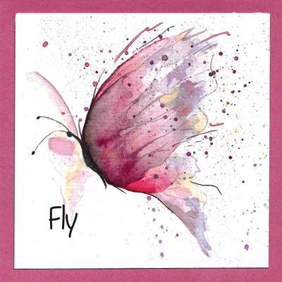 Schmetterling_Fly_Postkarte, Grußkarte, Aquarellzeichnung © Britta Jessen