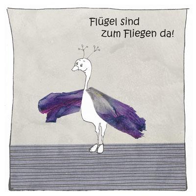 Flügel sind zum Fliegen da_Postkarte, Grußkarte, Aquarellzeichnung © Britta Jessen