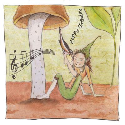 Postkarte Zwerg mit Pilz_Geburtstagskarte, Künstlerkarte © Britta Jessen