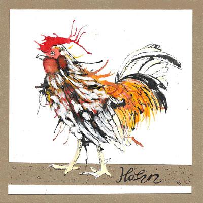 Hahn_Postkarte, Grußkarte, Aquarellzeichnung © Britta Jessen