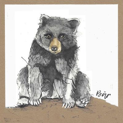 Bär_Postkarte, Grußkarte, Aquarellzeichnung © Britta Jessen