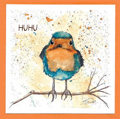 Rotkehlchen_Postkarte, Grußkarte, Aquarellzeichnung © Britta Jessen