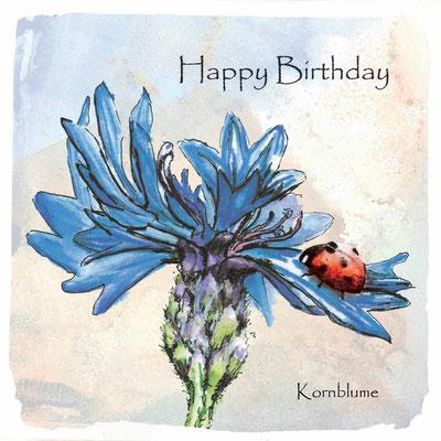 Geburtstagskarte_Kornblume, Centaurea cyanus_Aquarellzeichnung © Britta Jessen