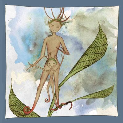 Postkarte Bäumling_laufen lernen_Grußkarte, Künstlerkarte © Britta Jessen