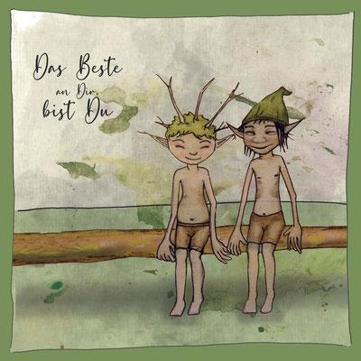 Postkarte Gnom Freundschaft_Grußkarte, Künstlerkarte © Britta Jessen