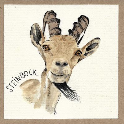 Steinbock_Postkarte, Grußkarte, Aquarellzeichnung © Britta Jessen
