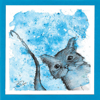 Katze_Postkarte, Grußkarte, Aquarellzeichnung © Britta Jessen