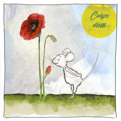 Maus_Carpe diem_Postkarte, Grußkarte, Aquarellzeichnung © Britta Jessen