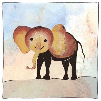 Elefant_Postkarte, Grußkarte, Aquarellzeichnung © Britta Jessen