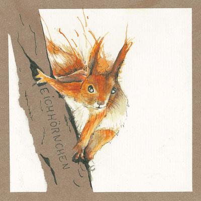 Eichhörnchen_Postkarte, Grußkarte, Aquarellzeichnung © Britta Jessen
