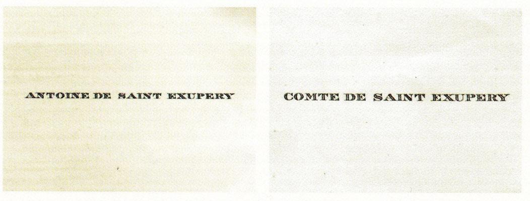 Cartes de visites de Saint Exupéry