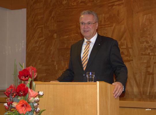 Joachim Herrmann, Innenminister, bei seiner Laudatio für Herrn Friedrich Hilterhaus.,