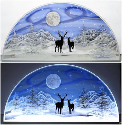 Winterlandschaft mit Hirsch