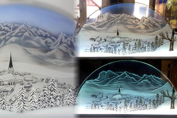 Winterlandschaft Glasmalerei - versch. Lichtverhältnisse