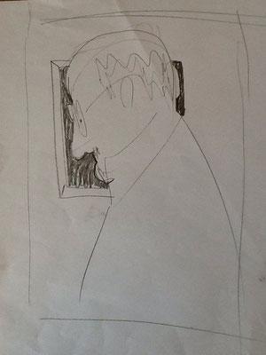 Herr M.vor dem Bild von K.M.