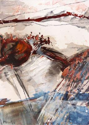 Erd_Innern II | Tempera auf Holz | 40x50 cm | 2012