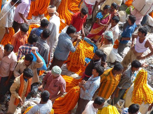 Kolkata - le marché aux fleurs