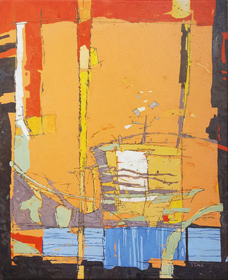 SOLD Something with orange, Acrylic on canvas, 50 x 65 cm