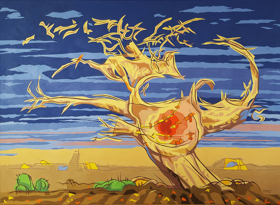 Desert flesh tree, Acrylic on canvas 95 x 135 cm