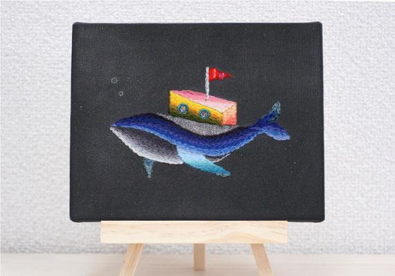 「diving」14×18cm、刺繍、アクリル、雲母