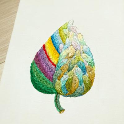 「葉月」18×14cm、刺繍、アクリル