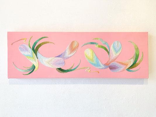 「レリーフ」20×60cm、刺繍、アクリル