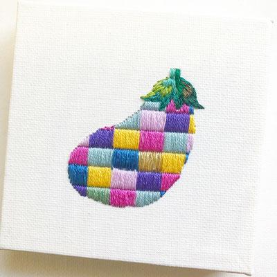 「ナス」10×10cm、刺繍