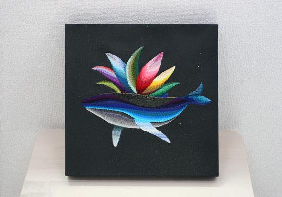 「flying sky」30×30cm、刺繍、アクリル、雲母