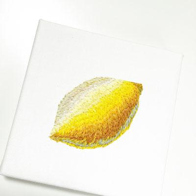 「Lemon」10×10cm、刺繍